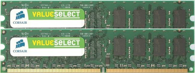 17274 - DDR2 4GB [2GBx2] DDR 800 (PC2-6400) - CORSAIR Value Select [VS4GBKIT800D2]