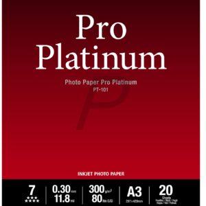2768B017 - A3 - CANON Papier Photo Pro Platinum PT-101 - 20 feuilles