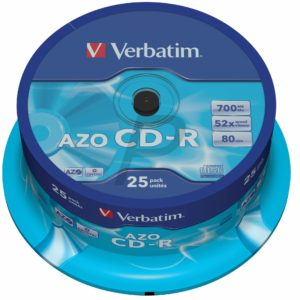 33513 - CD-R Disk 700MB - 25CD - 52x VERBATIM Spindle AZO Crystal