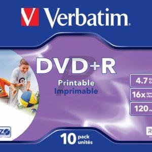 33517 - DVD+R 4.7GB -  10DVD - VERBATIM 16x JewelCase Wide Inkjet Printable ID Brand