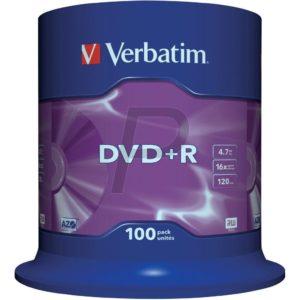 33518 - DVD+R 4.7GB - 100DVD - VERBATIM 16X Spindel Matt Silver