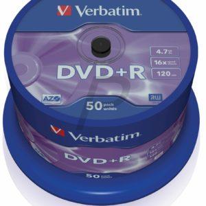 33521 - DVD+R 4.7GB -  50DVD - VERBATIM 16X Spindel Matt Silver