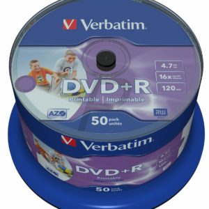 33525 - DVD+R 4.7GB -  50DVD - VERBATIM edien 16X Spindle Wide Inkjet Printable No ID Brand