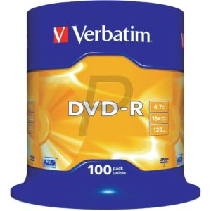 33527 - DVD-R 4.7GB - 100DVD - VERBATIM 16x Spindle Matt Silver