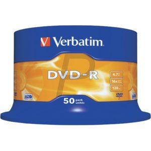 33528 - DVD-R 4.7GB - 50DVD - VERBATIM 16x Spindle Matt Silver
