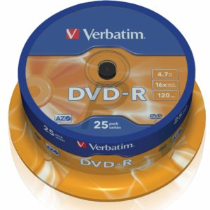 33529 - DVD-R 4.7GB - 25DVD - VERBATIM 16x Spindle Matt Silver