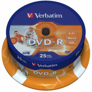 33530 - DVD-R 4.7GB - 25DVD - VERBATIM 16x Wide Inkjet Printable ID Brand