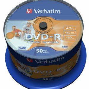 33531 - DVD-R 4.7GB - 50DVD - VERBATIM 16x Spindle Wide Inkjet Printable No ID Brand