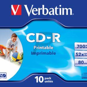 33745 - CD-R Disk 700MB - 10CD - 52x VERBATIM JewelCase Inkjet Printable
