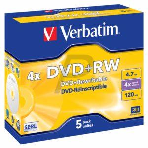 33753 - DVD+RW 4.7GB - 5DVD - VERBATIM Matt Silver [Jewel Case]