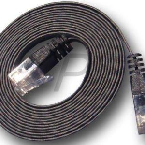 82117 - Câble RJ45  2.0m - Noir - U/UTP Cat.6 - Les câbles droits plats (patch) conviennent pour le placement sous les tapis, seuils de porte, etc.