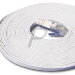 82132 - Câble RJ45  5.0m - Blanc - U/UTP Cat.6 - Les câbles droits plats (patch) conviennent pour le placement sous les tapis, seuils de porte, etc.