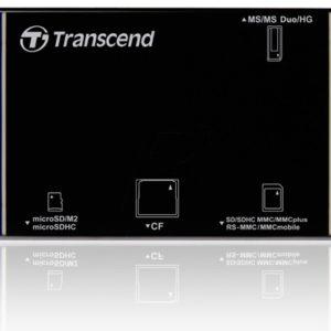 B08E180 - TRANSCEND Card reader P8 USB 2.0 noir SD/SDHC/SDXC/microSDHC/RS-MMC/Memory Stick/CompactFlash [TSRDP8K]