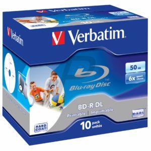 C07A05 - BD-R Blu-Ray  50GB - 10 pièces - VERBATIM Wide Printable speed 6X - [ Jewel Case ] (43736) No ID Brand