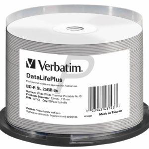 C07A12 - BD-R Blu-Ray  25GB - 25 pièces - VERBATIM Wide White Thermal Printable speed 6X - [ Spindle ] (43743) No ID Brand