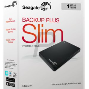"E05K11 - Disque 2.5"" externe 1.0To (1000GB) - SEAGATE Backup Plus Slim Portable USB 3.0 [STDR1000200] - Black"