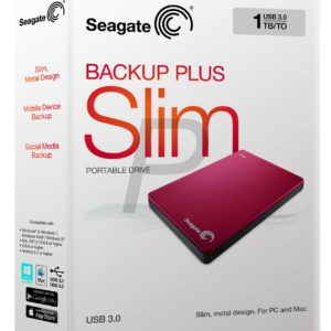 """E05K13 - Disque 2.5"""" externe 1.0To (1000GB) - SEAGATE Backup Plus Slim Portable USB 3.0 [STDR1000203] - Red"""