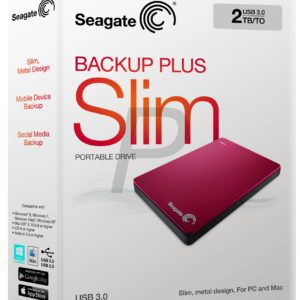 """E05K17 - Disque 2.5"""" externe 2.0To (2000GB) - SEAGATE Backup Plus Slim Portable USB 3.0 [STDR2000203] - Red"""
