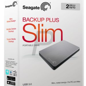"E05K18 - Disque 2.5"" externe 2.0To (2000GB) - SEAGATE Backup Plus Slim Portable USB 3.0 [STDR2000201] - Silver"