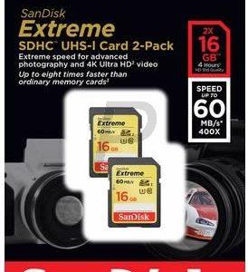 F10J16 - SD HC Memory Card  16000MB ( 16GB ) - SANDISK Extreme 60MB/s Class U3 (Class 10) pack 2 pièces