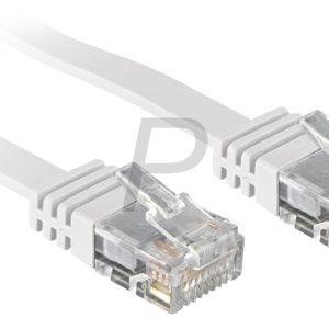 H29K11 - Câble RJ45  0.3m - LINDY - Blanc - U/UTP Cat.6 - Les câbles droits plats (patch) conviennent pour le placement sous les tapis, seuils de porte, etc.